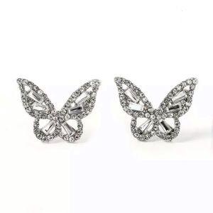 2ct Baguette & Round Cut Butterfly Earrings